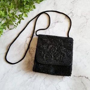 Vintage Lauren Alexandra Black Beaded Mini Handbag